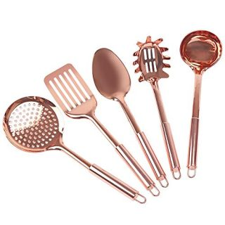 Steelware Central Copper Kitchen Utensils Stainless Steel Set of 5-Ladle, Serving Spoon, Pasta Server Fork, Slotted turner, Skimmer