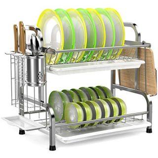 2-Tier Dish Rack with Utensil Holder