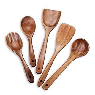 Beauty Kate Wooden Kitchen Utensil Set 5 Cooking Utensils Spatula Spoons for Cooking Nonstick Cookware, 100% Handmade by Natural Teak Wood