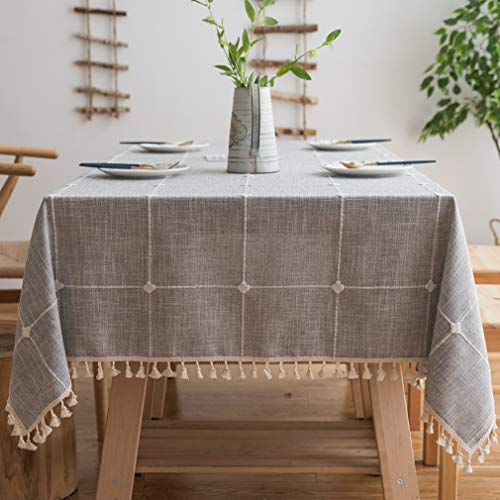 Pahajim Linen Rectangle Tablecloth Table Cloth Heavy Weight Cotton Linen Dust-Proof Table Cover for Party Table Cover Kitchen Dinning (Gray, Square,55 x 55 Inch)