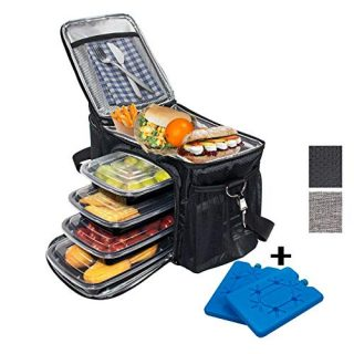 CARJOY Meal Prep Bag, Insulated Lunch-Bag,Lightweight and Reusable Food Cooler Lunch Box Includes 4 Meal Prep Containers and 2 Ice Packs with Removable Shoulder Strap for Man Woman