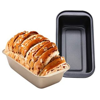 Loaf Pan 8.5x4 Inch, 2 PCS Bread Pan Loaf Pans for Baking Bread, Golden, Black Nonstick Bread Pan Mold for Home Kitchen by HAGBOU (2 Pieces)