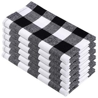 Aneco 6 Pack 18 x 18 Inch Checkered Plaid Dinner Napkin Plaid 100% Cotton Cocktail for Everyday Place Setting Decoration, Family Dinners, Thanksgiving Day, Christmas, Black and White