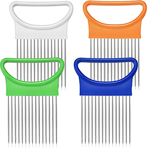 4 Pieces Onion Holder Slicer Stainless Steel Onion Slicer Vegetable Tomato Holder Slicer Cutter for Kitchen Worker Safety Cooking Tools, 4 Colors