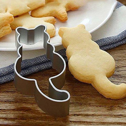 ☀ Dergo ☀ Cookie Cutter Cat Shaped Aluminium Mold Sugarcraft Pastry Baking Cutter Mould