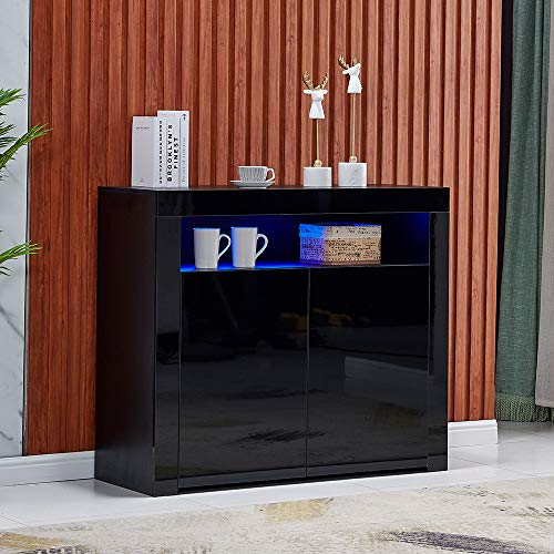 4HOMART High Gloss LED Sideboard Kitchen Storage Cabinet Cupboard Buffet Storage Server Table with Modern LED Lighting for Living Dining Room