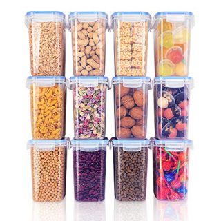 【12 Pack】Food Storage Containers with Lids Airtight, 1.5qt/1.6L Include 32 Labels, BPA Free Kitchen Pantry Storage Containers, PP Plastic & Silicone Seal Ring, Dishwasher Safe, Reusable & Stackable