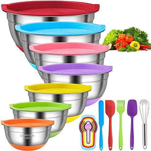 Mixing Bowls with Airtight Lids, CHAREADA 18pcs Stainless Steel Nesting Mixing Bowls Set – Non-slip Silicone Bottom, Size 7, 5.5, 4, 3.5, 2.5, 2, 1.5 QT, Fit for Mixing & Serving
