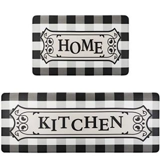 "Homcomoda Anti Fatigue Kitchen Rugs and mats Set 2 Piece Latex Cushioned Heavy Duty Standing Mats Runner Rug Easy to Clean Floor Mat Doormats Indoor/Outdoor (17"" x 28"" + 17"" x 47"")"