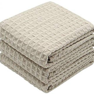 VeraSong Waffle Weave Kitchen Towels Thick Microfiber Dish Drying Towels Absorbent Tea Towels Hand Towel Lint Free 16Inch x 24Inch 3 Pack Khaki