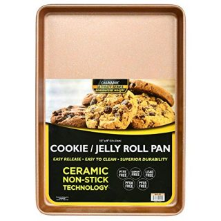 casaWare 13 x 9 x 1-Inch Ultimate Series Commercial Weight Ceramic Non-Stick Coating Cookie/Jelly Roll Pan (Rose Gold Granite)