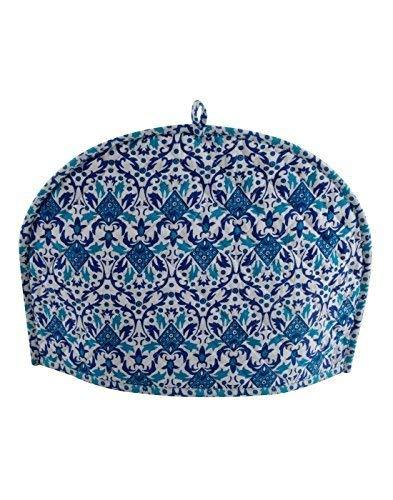 Devik Decor Tea Cozy for Teapot Indian Handmade Mandala Sky Blue Printed Cotton, 14 X 11 Inches; 36 X 28 cm