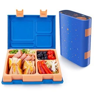 Bento Box for Kids, Lunch Containers with 4 Compartments for Meal and Snack Packing, Removable Tray Microwave/Dishwasher Safe, Leakproof Food-Safe Materials for Ages 3 to 14 - Starry Sky