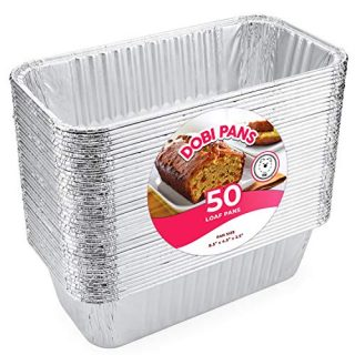 "Loaf Pans for Bread (50 Pack) - Disposable Aluminum Foil 2Lb Bread Tins for Baking, Standard Size - 8.5"" X 4.5"" X 2.5"" - Perfect for Homemade Cakes & Breads; Ideal for RoadPro 12-Volt Portable Stove"