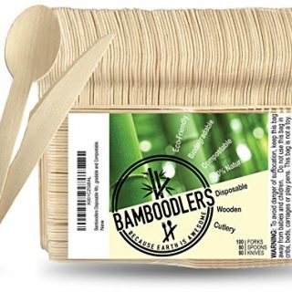 "BAMBOODLERS Disposable Wooden Cutlery Set | 100% All-Natural, Eco-Friendly, Biodegradable, and Compostable - Because Earth is Awesome! Pack of 200-6.5"" utensils (100 forks, 50 spoons, 50 knives)"
