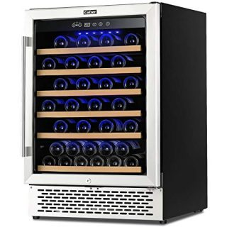 Colzer Premium 24 Inch Wine Cooler, 51 Bottle Wine Fridge with 2 Locks Humidity Control Intelligent Digital Upgrade Compressor Built in or Freestanding Wine Cellars for Home Office Bar