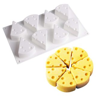 3D Cheese Shape Silicone Mousse Mold for Baking Cake Candy/French Dessert/Pastry/Chocolate Mold/ 8-Cavity Non stick (Middle 73ml)