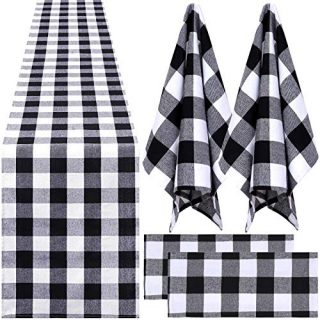 Aneco Buffalo Plaid Table Runner Dish Towels Plaid Design Table Runner Dish Towels Set Cotton Dish Towels Table Runner for Kitchen Collection Check Plaid Gift Set
