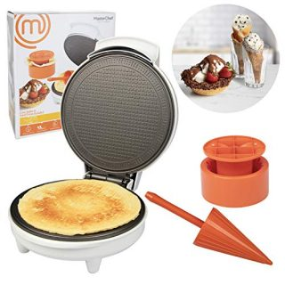 MasterChef Waffle Cone and Bowl Maker- Includes Shaper Roller and Bowl Press- Homemade Ice Cream Cone Baking Iron Machine, Fun Kitchen Appliance for Summer Parties & Gift Giving