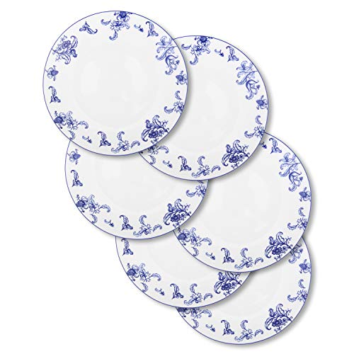 FIGULARK 8 Inch Stoneware Plate Set of 6 Blue Flower & White Ceramics Microwave & Dishwasher Dishes for Kitchen, Restaurant, and Party Gift