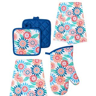 Summer Decor - Kitchen Linen Set (5 Pc) Celebrate Spring Flowers and the Floral Season - Colorful Set Includes 2 Matching Kitchen Towels 2 Potholders 1 Oven Mitt - Oven Mitts - Potholders - Kitchen De