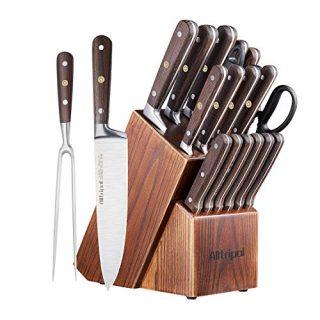 18 Piece Kitchen Knives Set with Wooden Block Sharpener & Scissors German Stainless Steel with Wood Handle Chef Cooking Utility Bread Slicing Peeling Boning Santoku Paring & Steak Knife