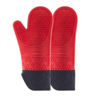 Heat Resistant Silicone Oven Mitts,Pot Holders with Quilted Liner,Pot Holders for Kitchen Heat Resistant,Cooking Gloves,Pot Holders,Protect Hands from hot Surfaces,Non-Slip Textured,red,1 Pair