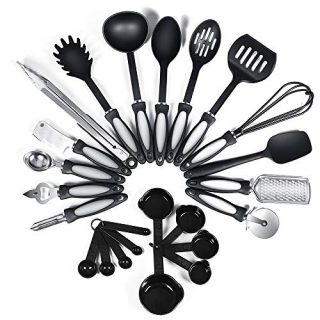 24-Piece Nylon Cooking Utensils Kitchen Utensil set - Nylon Kitchen Utensils Set Best Kitchen Tools(BPA Free NON Toxic-24pcs Black)