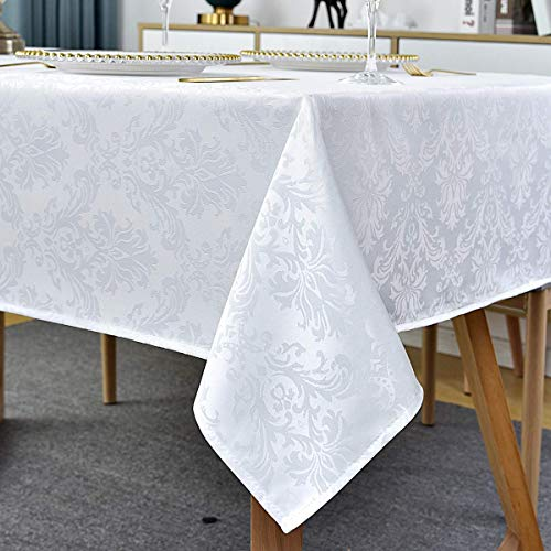 White Damask Table Cloth Jacquard Design