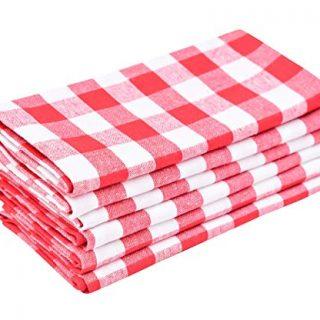 Buffalo Plaid Napkins - Red Kitchen Napkins - Buffalo Checked Cotton Napkins - Checkered Napkin - Red White Buffalo Plaid Cloth Napkins - Checked Kitchen Napkins Cotton Set of 6 (18x18), Red/White