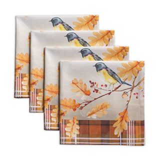 Maison d' Hermine Oak Leaves 100% Cotton Soft and Comfortable Set of 4 Napkins Perfect for Family Dinners | Weddings | Cocktail | Kitchen | Thanksgiving/Christmas (20 Inch by 20 Inch).