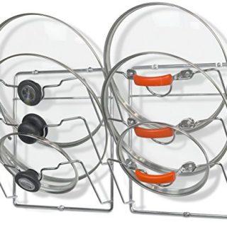 2 Pack - Simple Houseware Cabinet Door/Wall Mount Pot Lid Organizer Rack, Chrome
