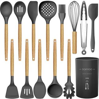 14 Pcs Silicone Cooking Utensils Kitchen Utensil Set - 446°F Heat Resistant,Turner Tongs,Spatula,Spoon,Brush,Whisk. Wooden Handles Gray Kitchen Gadgets Tools Set for Nonstick Cookware (BPA Free)