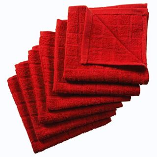 Nirisha Cotton Terry Dish Cloth - 6 Pack - Red - 12 x 12 Inches - 400 GSM - 100% Ringspun 2 Ply Cotton - Box Weave - Soft & High Absorbent