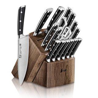 Cangshan TS Series 1020885 Swedish Sandvik 14C28N Steel Forged 17-Piece Knife Block Set, Walnut