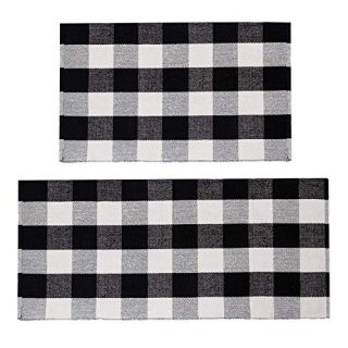 U'Artlines Buffalo Plaid Rug, Cotton Area Rug Checkered Plaid Doormat Kitchen Runner Washable Entryway for Bedroom, Kitchen, Laundry Room (2'x3'+2'x4.2', Black-White Plaid)