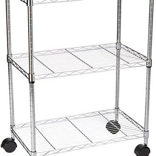 "AmazonBasics 3-Shelf Heavy Duty Shelving Storage Unit on 2"" Wheel Casters, Metal Organizer Wire Rack, Chrome (23.2L x 13.4W x 32.75H)"