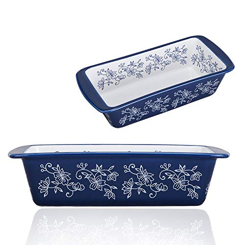 Jemirry Ceramic Baking Bread Pan Loaf Pan Rectangular Baking Dish Bakeware Toast Mold for Home Kitchen- Classic Blue