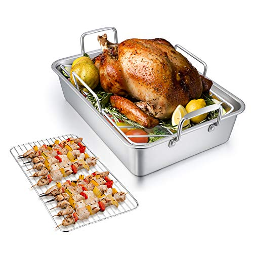 TeamFar Roasting Pan with Rack, 14 Inch Stainless Steel Turkey Roaster Lasagna Pan with V-Shaped Rack & Cooling Rack, Healthy & Durable, Brushed Surface & Dishwasher Safe, Rectangular - Set of 3