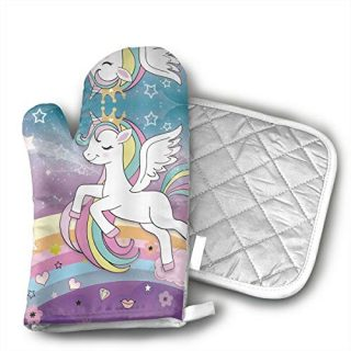Children's Rainbow Unicorn Oven Mitts and Potholders (2-Piece Sets) - Kitchen Set with Cotton Heat Resistant,Oven Gloves for BBQ Cooking Baking Grilling