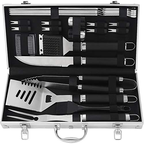 POLIGO 22pcs BBQ Accessories Stainless Steel BBQ Grill Tools Set for Christmas Birthday Gifts - Premium Barbecue Grill Utensils Set in Aluminum Case - Perfect Grilling Presents Kit for Dad Men Women