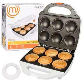 MasterChef Mini Pie and Quiche Maker- Pie Baker Cooks 6 Small Pies and Quiches in Minutes- Non-stick Cooker w Dough Cutting Circle for Easy Dough Measurement (1)