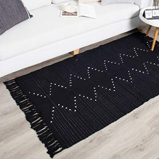 Boho Kitchen Rug Runner Black with Tassel, Small Moroccan Cotton Woven Rug, Hand Woven Geometric Neutral Vintage Tribal Throw Rug for Bedroom Hallway Porch Bathroom Bath Room 2.3'x5.3'
