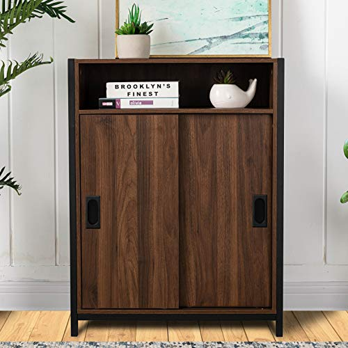 Glitzhome Floor Storage Cabinet with Doors and Shelves Modern Sideboard Kitchen Storage Cabinet Buffet Cabinet Freestanding Bar Cabinet for Entryway, 32 Inch, Brown