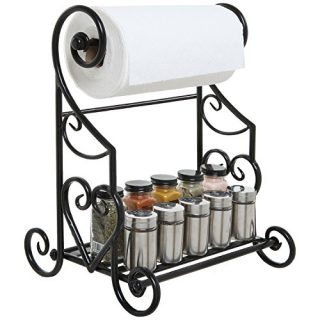 MyGift Freestanding Heart Scrollwork Black Metal Kitchen Countertop Paper Towel Holder Stand with Spice/Condiment Shelf Rack