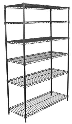 Internet's Best 6-Tier Wire Shelving Rack - NSF Wide Flat Black Home Storage - Heavy Duty Shelf - Wide Adjustable Freestanding Rack Unit - Kitchen Business Organization - Commercial Industrial