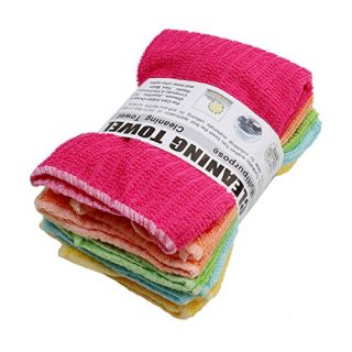 Grandiy 5Pcs Kitchen Striped Wash Dish Towels Absorbent Durable Washable Towels Square Dishcloths,Color