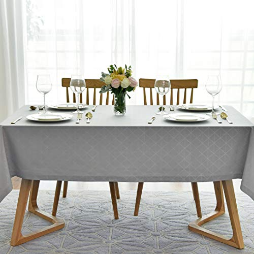 maxmill Jacquard Poly-Cotton Tablecloth Geometric Pattern SpillProof, Water Resistant Wide Hem Heavy Weight Soft Table Cloth for Kitchen Dining Tabletop Decoration Rectangle, Light Grey, 60x84 Inch