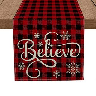 Artoid Mode Red and Black Buffalo Plaid Believe Table Runner, Seasonal Winter Christmas Holiday Tablecloth Kitchen Dining Table Linen for Indoor Outdoor Home Party Decor 13 x 72 Inch