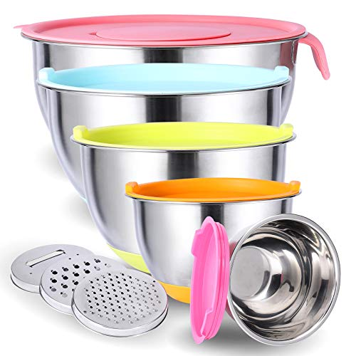 Mixing Bowls with Airtight Lids, 6 Piece Stainless Steel Metal Nesting Bowls,3 Grater Attachments, Measurement Marks & Colorful Non-Slip Bottoms,Size 5, 3.5, 2.5, 2.0,1.5QT, Great for Mixing & Serving